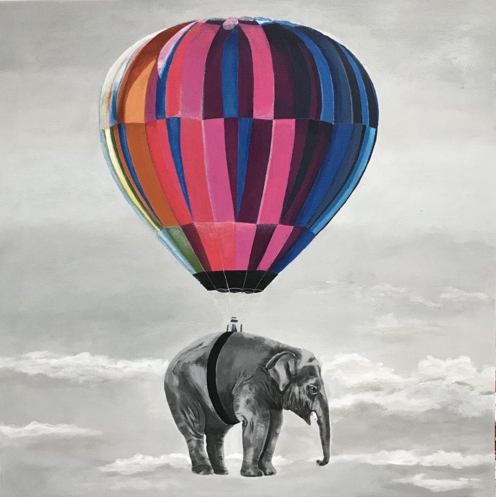 Elefant i luftballon