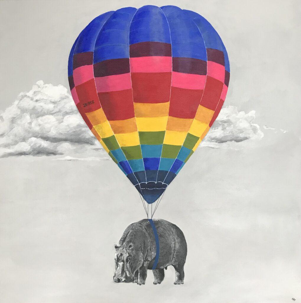 Flodhest med luftballon