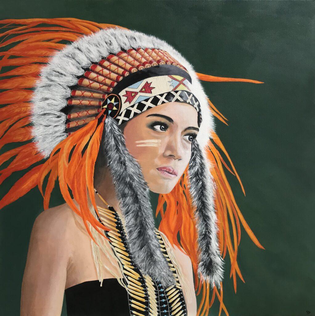 Indianer -  h100 x b100 cm
