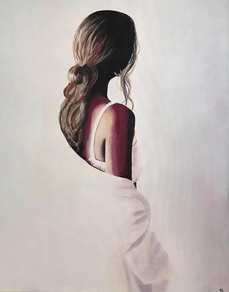 Kvinde i hvidt - 80x100 cm